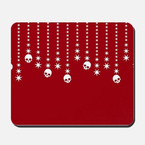 Skull Dangles Christmas Red Mousepad