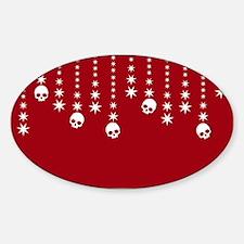 Skull Dangles Christmas Red Decal