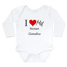 Cute I love korean women Long Sleeve Infant Bodysuit