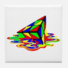 Pyraminx cude painting01B Tile Coaster