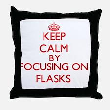 Keep Calm by focusing on Flasks Throw Pillow