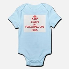 Keep Calm by focusing on Flies Body Suit