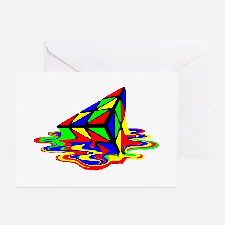 Pyraminx cude painting01B Greeting Cards