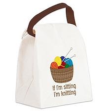 If I'm sitting I'm knitting Canvas Lunch Bag