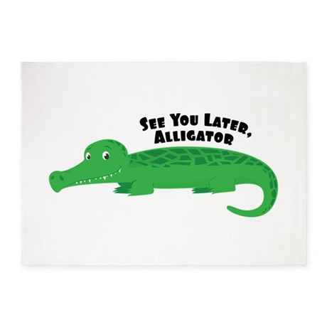 Later Alligator 5u0027x7u0027Area Rug