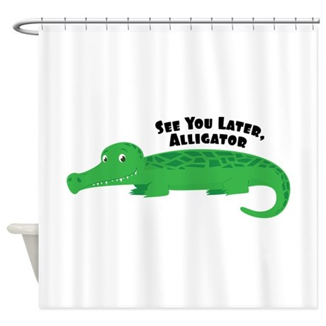 Charming Later Alligator Shower Curtain