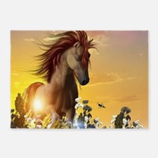 Wild horse playing on a meadow in sunset 5'x7'Area