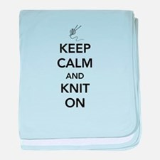 Keep calm and knit on baby blanket