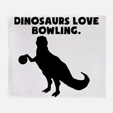 Dinosaurs Love Bowling Throw Blanket
