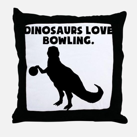 Dinosaurs Love Bowling Throw Pillow