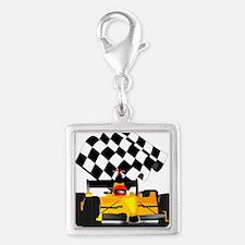Yellow Race Car Charms