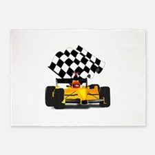 Yellow Race Car 5'x7'Area Rug