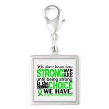 Lymphoma HowStrongWeAre Silver Square Charm
