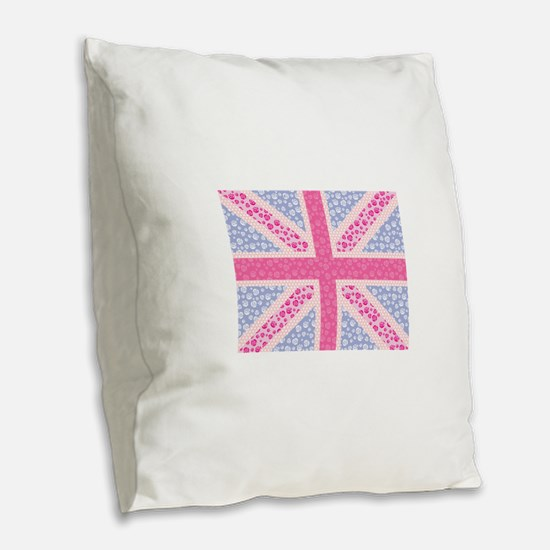 English Rose Burlap Throw Pillow