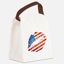 American Flag Lips Canvas Lunch Bag