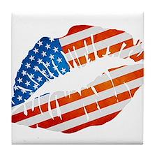 American Flag Lips Tile Coaster