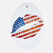 American Flag Lips Ornament (Oval)