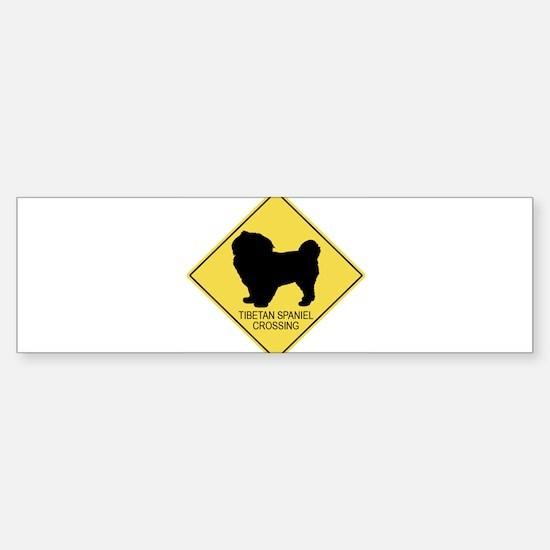 Tibetan Spaniel crossing Bumper Bumper Bumper Sticker