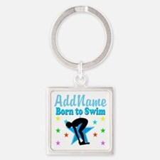 1ST PLACE SWIMMER Square Keychain