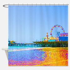 Funky Pixels Pier Shower Curtain