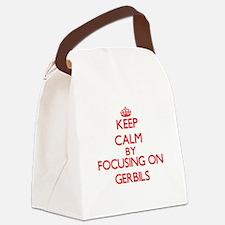 Keep Calm by focusing on Gerbils Canvas Lunch Bag