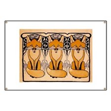 Art nouveau foxes Banner