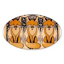 Art nouveau foxes Decal