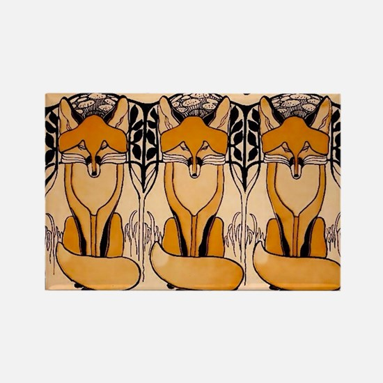 Art nouveau foxes Magnets
