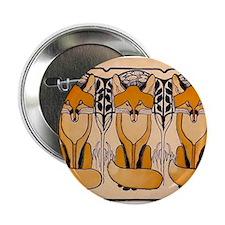 """Art nouveau foxes 2.25"""" Button"""
