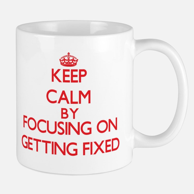 Keep Calm by focusing on Getting Fixed Mugs