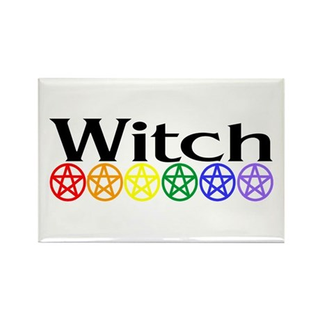 Rainbow Pentacles & Witch Rectangle Magnet