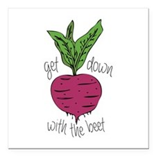 """With The Beet Square Car Magnet 3"""" x 3"""""""