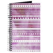 Purple Tribal Watercolor Vintage Stripes Journal
