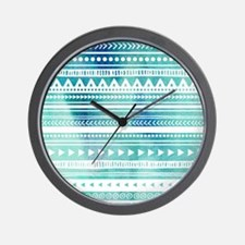 Blue Tribal Watercolor Vintage Stripes Wall Clock