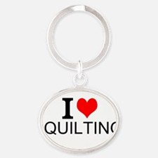 I Love Quilting Keychains