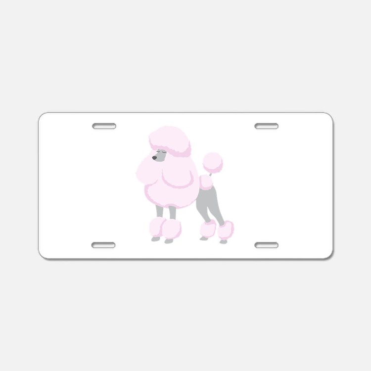 Pink Poodle Aluminum License Plate