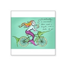 "Cute Bicycle art Square Sticker 3"" x 3"""