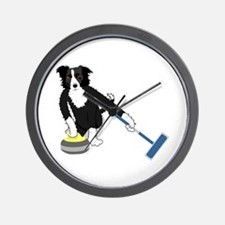 Border Collie Curling Wall Clock