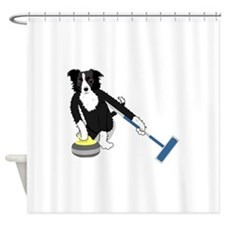 Border Collie Curling Shower Curtain