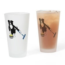 Border Collie Curling Drinking Glass