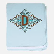 D Monogram Personalized Letter baby blanket