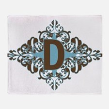D Monogram Personalized Letter Throw Blanket
