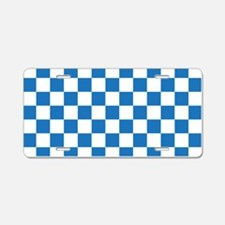 BLUE AND WHITE Checkered Pattern Aluminum License