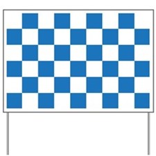 BLUE AND WHITE Checkered Pattern Yard Sign