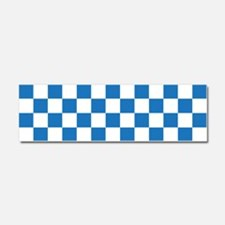 BLUE AND WHITE Checkered Pattern Car Magnet 10 x 3