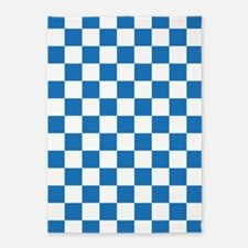 BLUE AND WHITE Checkered Pattern 5'x7'Area Rug