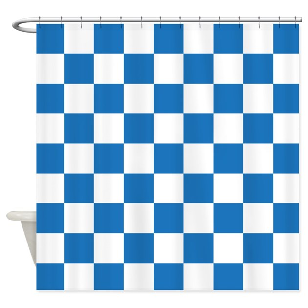 Blue And White Checkered Pattern Shower Curtain By Beautifulbed