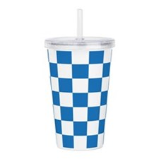 BLUE AND WHITE Checkered Pattern Acrylic Double-wa