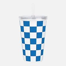 BLUE AND WHITE Checkered Pattern Acrylic Double-wa