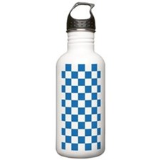 BLUE AND WHITE Checkered Pattern Water Bottle